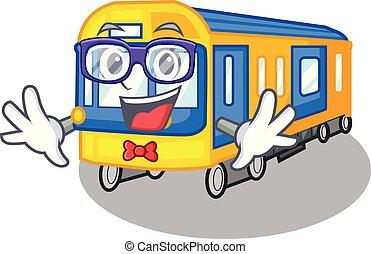 geek, metro trein, speelgoed, in vorm, mascotte