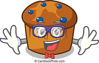 Geek mufin blueberry character cartoon