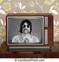 geek mustache tv presenter in retro wood television