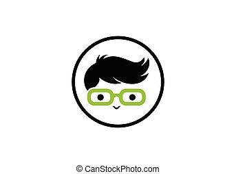 geek, nerd, ロゴ, person., 特徴