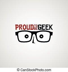 geek nerd guy cartoon character theme vector illustration