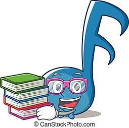 geek, nota musica, carattere, cartone animato