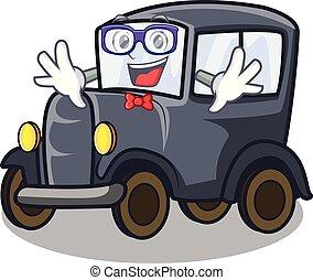 Geek old car isolated in the cartoon