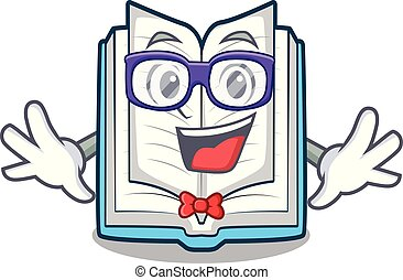 Geek opened book isolated in the character