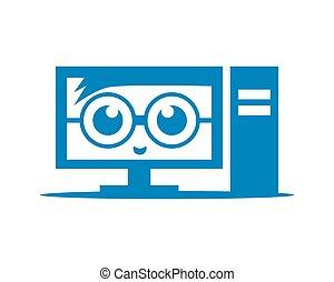 geek, ordinateur pc, conception, gabarit, logo