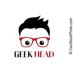 geek, persona, plantilla, logotipo