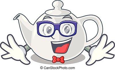 Geek porcelain teapot ceramic isolate on mascot