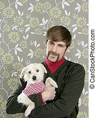 geek retro man holding dog silly on wallpaper - geek retro...