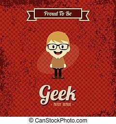 geek, retro, spotprent, kunst