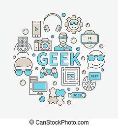 Geek round colorful illustration