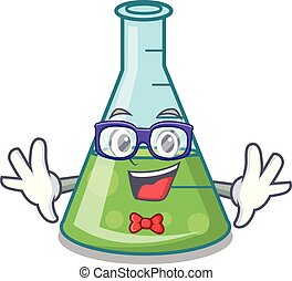 Geek science beaker character cartoon