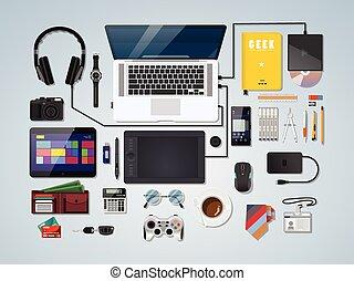 geek, semi, espace de travail, realicstic