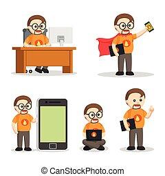 geek, set, nerd, dik, mensen