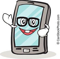 geek, smartphone, carácter, caricatura, cara