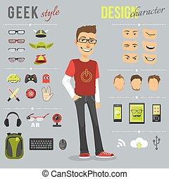 geek, stile, set