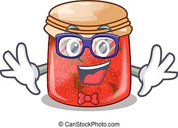 Geek strawberry marmalade in glass jar of cartoon
