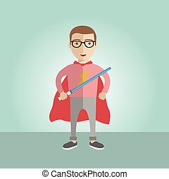 Geek superhero boy with the sword and a cape