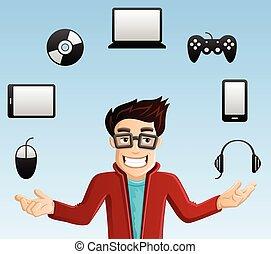 geek, szerkentyű, számítógép, -, bűvészkedés