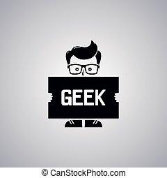 geek, tipo, ganso