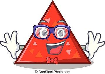 geek, triangel, carácter, estilo, caricatura