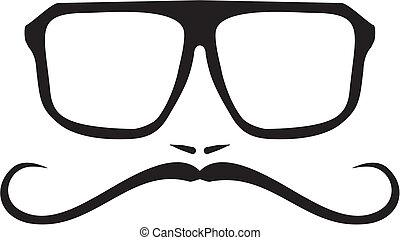geek, vektor, csípőre szabott, vagy, szemüveg