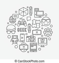 geek, vettore, rotondo, illustrazione