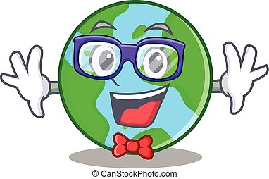 Geek world globe character cartoon
