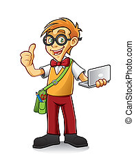 Geeky Boy - geeky boy standing holding a laptop and thumbs-...