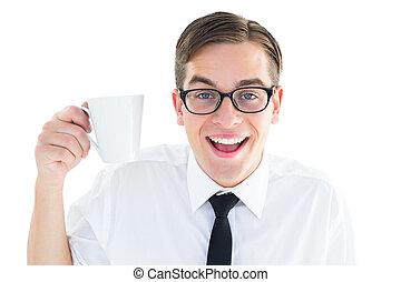 Geeky businessman holding a mug