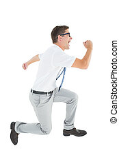 Geeky happy businessman running mid air on white background