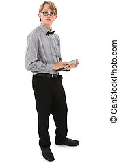 Geeky nerd teen with electronic notepad over white with clipping path. Tape on glasses.