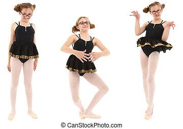 geeky, rigolote, coupure, ballerine, sur, trois, poses., white., sentier