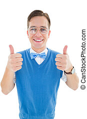 Geeky young hipster smiling at camera on white background