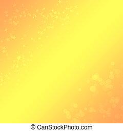 geel-oranje, achtergrond, met, een, bokeh, en, sterretjes,...