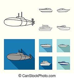 geest, militair, stijl, duikboot, symbool, set, genoegen, vector, boat., plat, liggen, web., schepen, scheepje, schets, water, iconen, illustratie, vervoeren, speedboat, verzameling