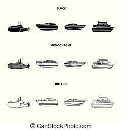 geest, schets, militair, stijl, duikboot, symbool, set, genoegen, vector, boat., liggen, web., schepen, monochroom, scheepje, water, iconen, black , illustratie, vervoeren, speedboat, verzameling