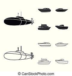 geest, schets, militair, stijl, duikboot, symbool, set, genoegen, vector, boat., liggen, web., schepen, scheepje, water, iconen, black , illustratie, vervoeren, speedboat, verzameling