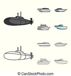 geest, spotprent, schets, militair, stijl, duikboot, symbool, set, genoegen, vector, boat., liggen, web., schepen, scheepje, water, iconen, illustratie, vervoeren, speedboat, verzameling
