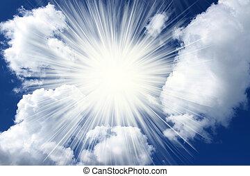 geestelijk, wolken, en, hemel