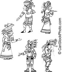 geestelijke, maya, karakters