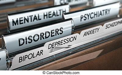 geestelijke ziekte, lijst, psychiatrisch, aandoeningen