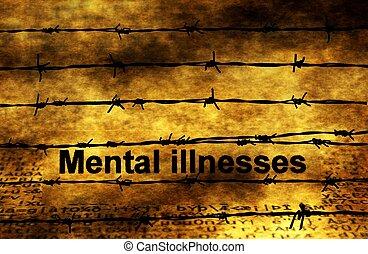 geestelijke ziektes, tekst, tegen, barbwire