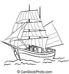 gefäß, skizze, segeln, nautisch