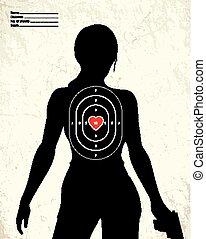 gefährlicher , frau, bewaffnet