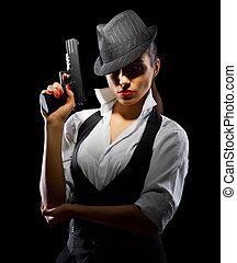 gefährlicher , und, schöne , kriminell, m�dchen, mit, gewehr