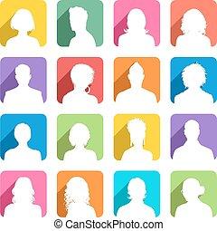 gefärbt, avatars, schatten, wohnung, gibsverband