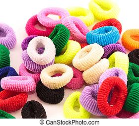 gefärbt, elastisch, scrunchies, bänder, -, haar, straffen,...