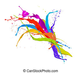 gefärbt, farbe, spritzer, freigestellt, weiß, hintergrund