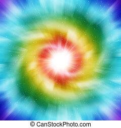 gefärbt, galaxie, spirale
