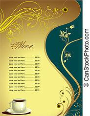 gefärbt, gasthaus, menu., abbildung, vektor, (cafe),...
